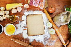 Old sheet  and flour Royalty Free Stock Photos