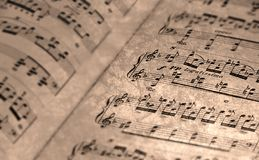Old Sheet Music. With antique finish Royalty Free Stock Image