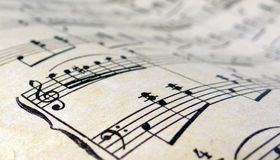 Old sheet music. Sheet of the middle of the last century Low depth of field royalty free stock photos