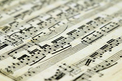Old sheet music with notes. Close-up. Selective focus royalty free stock photos