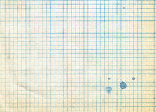 Old sheet of notebook in cage with blots Stock Photo