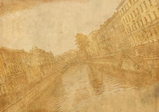 Old sheet paper with image of city street Royalty Free Stock Image