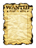 Old sheet of paper with words Wanted Dead or Alive. Old sheet of paper with burnt edges and words Wanted Dead or Alive isolated on white background royalty free stock image