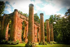 Old Sheldon Church Ruins. In Beaufort SC Royalty Free Stock Photos
