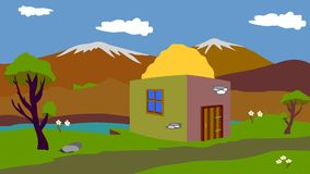 The old shepherd`s house in the mountains vector illustration