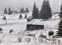 Old shepperd huts in winter Stock Photography
