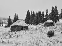 Old shepperd huts on the winter Royalty Free Stock Images