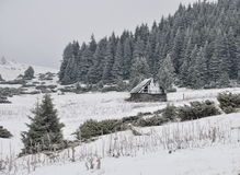 Old shepperd's hut on the winter Stock Photo