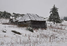 Old shepperd's hut on the winter Royalty Free Stock Photo