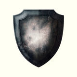 Old Shield. Old metal shield on white background vector illustration