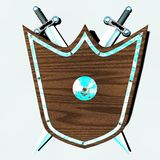 Old shield with swords pending from the wall Stock Photos
