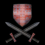 Old shield and two swords Stock Images