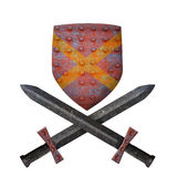 Old shield and two swords. On a white background Royalty Free Stock Image