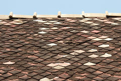 Old shingle roof tiles. In temple Stock Image