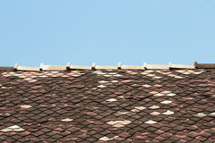Old shingle roof tiles. In temple Stock Photography