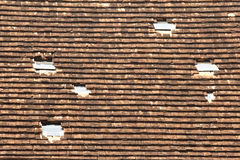 Old shingle roof tiles. In temple Stock Photo