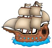 Old ship. On white background - color illustration Royalty Free Stock Photography