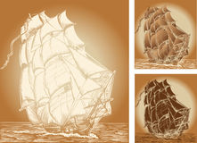Old ship. Set of color backgrounds with old ship Stock Images