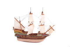 Old ship. Model of old ship on the white background Royalty Free Stock Photography