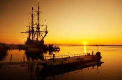 Old ship. An old ship and sunset Stock Photography