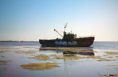 Old Ship. Old abandoned ship at sea Stock Images