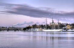 Old ship at anchor. Old beautiful ship at anchor Royalty Free Stock Image
