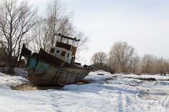 Old ship on the bank of the Ob Stock Photography