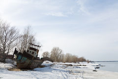Old ship on the bank of the Ob Royalty Free Stock Images