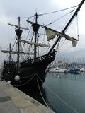 Old ship at Barcelona Yacht club. Royalty Free Stock Photo