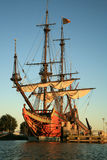Old ship - Batavia. Batavia – historic galleon from Netherlands by sunset. Old ship Stock Images