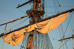 Old ship - Batavia. Details of sail – Batavia – historic galleon by sunset. Old ship Royalty Free Stock Photography