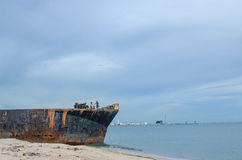 Old ship on the beach Royalty Free Stock Image