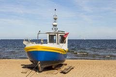 Old ship on the beach stock image