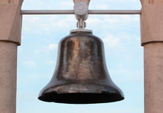 Old ship bell found at sea bottom as a monument Royalty Free Stock Images