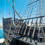 Old ship. Black, tourist attraction in Barcelona Stock Image
