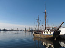 Old Ship in Calm Water Harbor Royalty Free Stock Photo