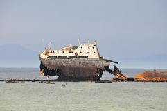 Ship wreck of ship in the red sea Stock Image