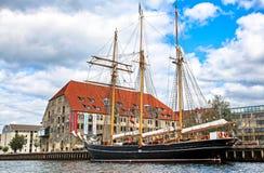 Old ship in Copenhagen, Denmark stock images