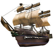 Old ship. 3D render of an old wooden ship Stock Images
