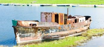 Old ship on Danube river Stock Photos