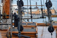 Old Ship Deck. View from the side in the cloudy and rainy day. In the background visible city of Helsinki in Finland stock photography