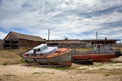 Old ship on the docks. Olkhon Island in Lake Baikal eastern Siberia Stock Images