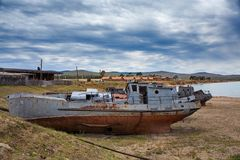 Old ship on the docks. Royalty Free Stock Images