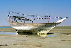 The old ship in the dried up sea Royalty Free Stock Photography