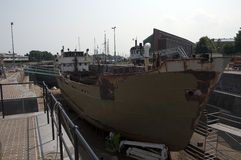 Old ship dry dock. Old dry dock ship jard in holland for restoring ships Royalty Free Stock Photo