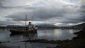 Old ship at the End of the world, Ushuaia royalty free stock photo