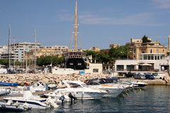 Valletta, Malta, July 2014. Snow-white yachts and boats docked in the Royal Yacht Club. royalty free stock photos