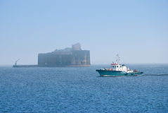 Old ship and Fort Alexander Stock Image