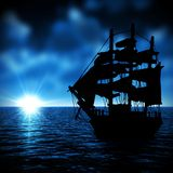Old ship goes to the sunset Royalty Free Stock Images