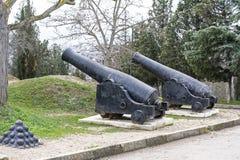 Old ship gun on a coastal position Royalty Free Stock Photography